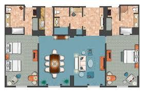 Orlando 2 Bedroom Suites Room Diagram 2 Bedroom Villa Parlor Suite Picture Of Loews
