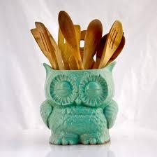 kitchen utensil canister kitchen utensil holder owl decor cooking gift large utensil