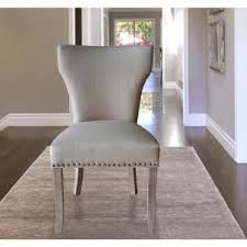 Linen Dining Chair Sofia Grey Linen Back Dining Chair With Handle Set Of 2 Dwc