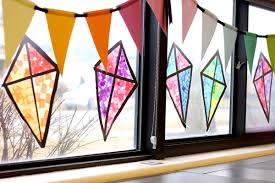 Kids Stained Glass Craft - stained glass kite decorations made from tissue paper