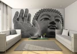 Buddha Room Decor Buddha Mural Wall Contemporary Living Room