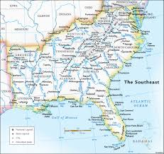 road map of southeast us us map of southeastern states cdoovision