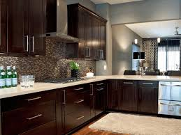 wall mounted kitchen shelves black and wood kitchen cabinets light herringbone pattern floor
