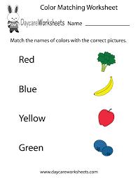 Worksheets Com Free Preschool Color Matching Worksheet