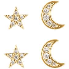 clip on earrings accessorize accessorize pave moon stud earring pack 29 liked on