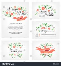Wedding Invitation Rsvp Cards Wedding Invitation Thank You Card Save Stock Vector 152753060