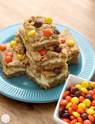 reese u0027s pieces peanut butter cookie cheesecake bars a kitchen