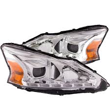 nissan altima 2013 headlight replacement anzo usa nissan altima 13 14 4dr projector headlights black