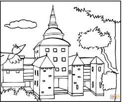 bird is flying to big mansion coloring page free printable