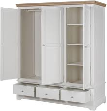 Country Style Bedroom Furniture by White Wooden Wardrobe 3 Doors Solid Oak Drawers Bedroom Furniture