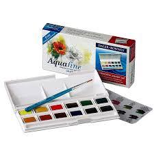 daler rowney aquafine watercolour box half pan 12col pocket set