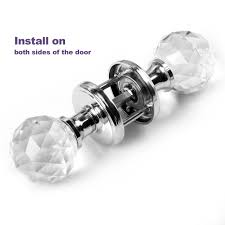 a pair of clear extra large crystal glass door knob handle for