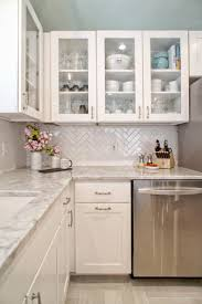 backsplash for kitchen with white cabinet white and gray modern kitchen with herringbone backsplash