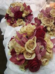 Burgundy Roses Bridesmaids Bouquets Of Latte And Burgundy Roses With Cymbidium