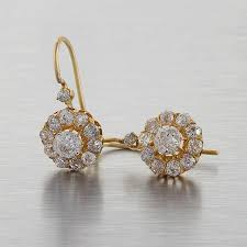 cluster earrings antique mine cut diamond gold cluster earrings at 1stdibs