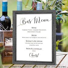 wedding bar menu template wedding bar menu sign printable bar menu template instant