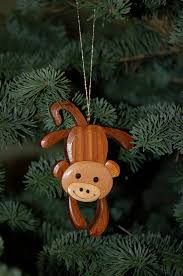 monkey christmas ornament wood carving a cute and original