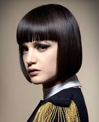 just below the chin length bob haircut smooth chin length bob with a blunt fringe and ends with an under