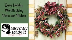 Holiday Wreath Easy Holiday Wreath Using Picks And Ribbon Youtube