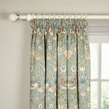 Ready Made Velvet Curtains John Lewis Buy Morris U0026 Co Strawberry Thief Lined Pencil Pleat Curtains
