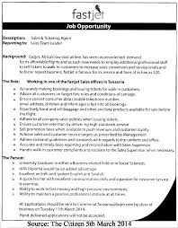 Insurance Agent Job Description For Resume Sales And Ticketing Agent At Fast Jet Kazibongo