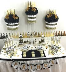 black and gold baby shower candy buffet centerpiece with baby