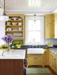 blue kitchen cabinets and yellow walls an cottage cottage style kitchen cottage kitchen