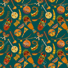 hand drawn seamless african music pattern vector illustration