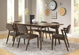 coaster malone mid century 7 piece dining room set in dark walnut