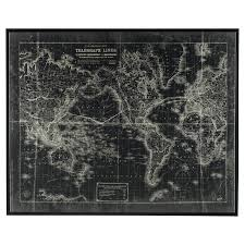 Framed Map Of The World by Signature Design By Ashley Berit Wall Art 52w X 42h In Hayneedle