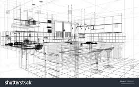linear kitchen 3d linear kitchen interior stock illustration 288455924 shutterstock