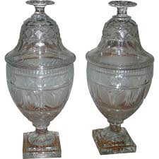 Cut Crystal Vases Antique Pair Antique 19th Century Anglo Irish Glass Cut Crystal Chestnut