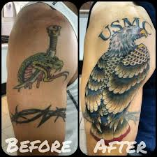 usmc eagle cover up tattoo by angelo tiffe at royal flesh tattoo