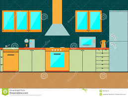 flat kitchen interior cabinets accessories stock vector image