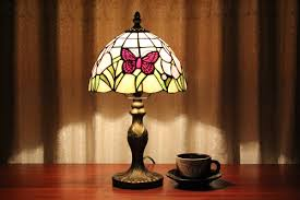 vintage tiffany butterfly stained glass study table lamps