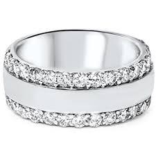 8mm diamond 2 3 4ct diamond row 8mm wide wedding band 14k