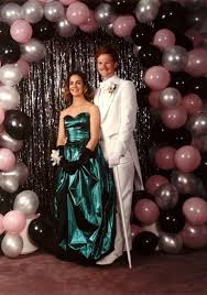 wooden photo album1980s prom all that shimmers balloon arch tinsel shimmer dress 80s prom