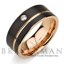 mens black wedding rings black tungsten wedding band 14k gold white diamond mens