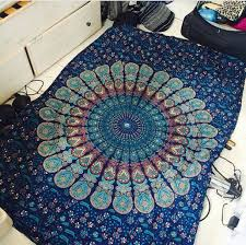 home accessory blue mandala cover green sheets indie boho