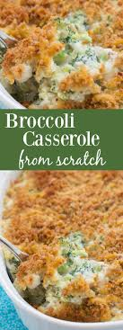 cheesy broccoli casserole with a cheesy breadcrumb topping