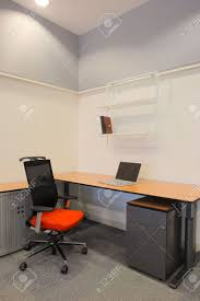 empty office with new modern office furniture including desks