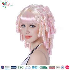 long curly hair style for lawyer styler brand wholesale lawyer wig curly two tone color synthetic wig
