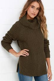 green sweater cozy olive green sweater waffle knit sweater cowl neck sweater