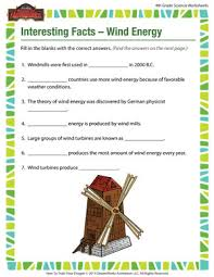 interesting facts u2013 wind energy u2013 science worksheets free for 4th