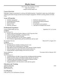 Best Career Objectives In Resume by Caregivers Resume Free Excel Templates
