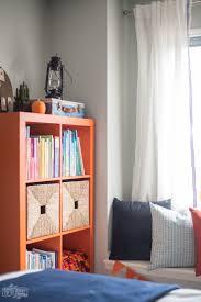 Nautical Bookcase A Modern Navy U0026 Orange Nautical Kids U0027 Room Makeover The Diy Mommy