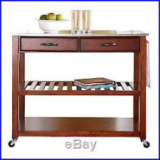 island cart on wheels stainless steel top cherry rolling storage table