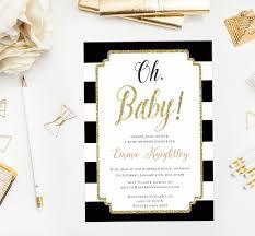 glitter gold oh baby shower invitation modern baby shower invite