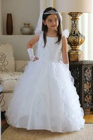 communion dress white taffeta organza ruffles communion dress mdr1438 wh