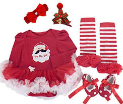 Amazoncom Baby Girl Xmas Outfit Infant Newborn My First Christmas